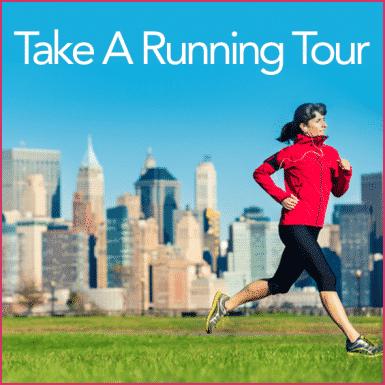 Woman in red running with city in the background and the words Take a Running Tour