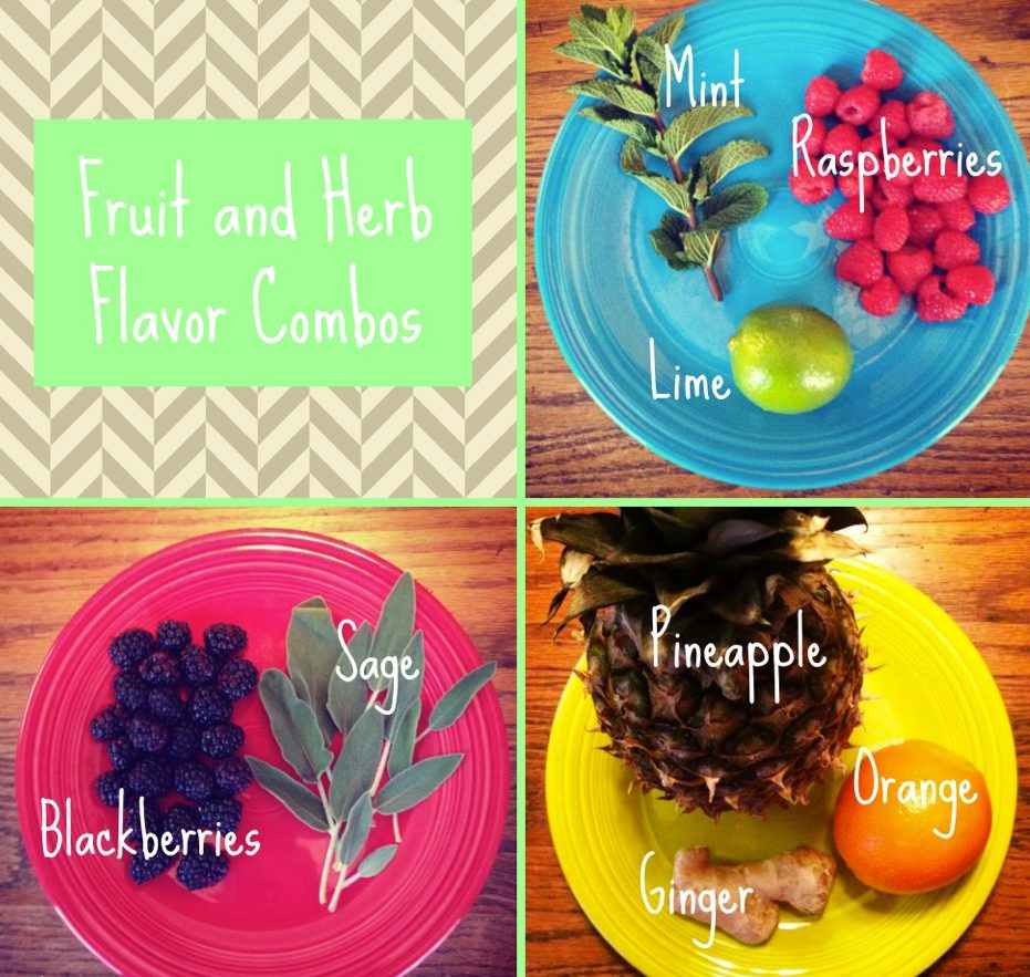 Plates with fruits and herbs for fruit and herb infused water recipes.