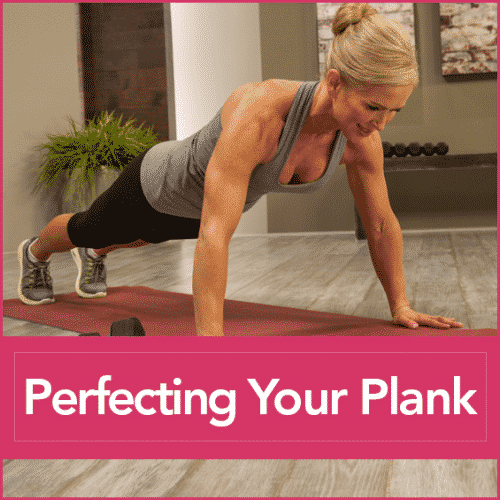 Chris Freytag in a plank position in a grey tank top and black pants with the words Perfecting Your Plank
