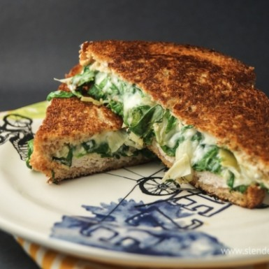 This spinach artichoke grilled cheese is seriously SO good & less calories than your typical grilled cheese.