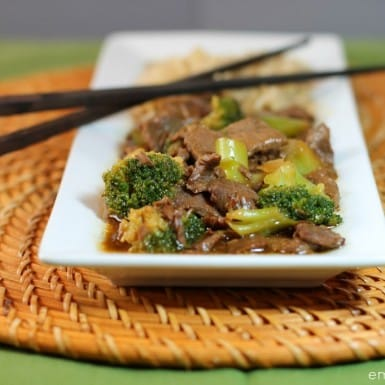 Beef and broccoli stir fry with chopsticks