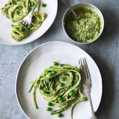 Make these delicious pesto zucchini noodles for a quick and healthy dinner.