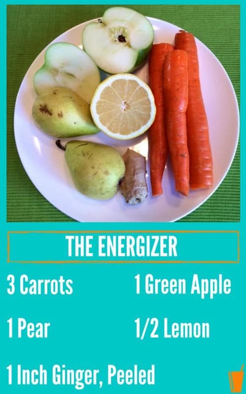 The Energizer Healthy Juice Recipe listed with a plate of carrots, lemon, pears, and ginger.