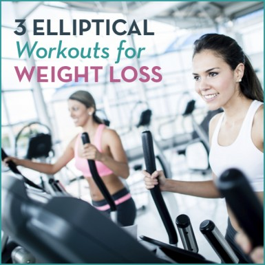 """Two women working out on an elliptical at the gym with the words """"3 Elliptical Workouts For Weight Loss"""" next to them."""