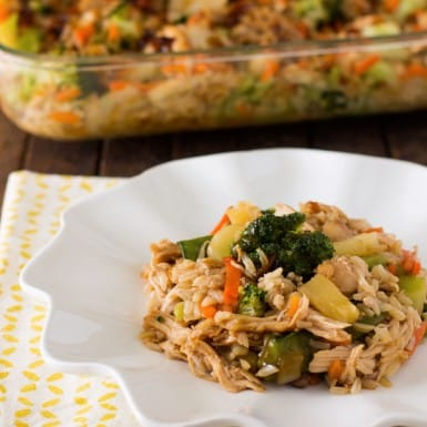 Dinner just got delicious with this healthy Asian teriyaki chicken and rice casserole that makes a low-fat meal you will love!