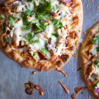 This recipe could not be any easier or any more delicious! It comes together in a cinch with rotisserie chicken and naan!
