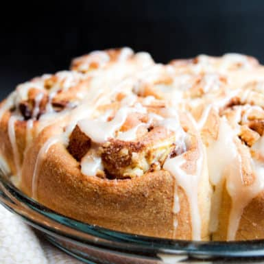 This recipe combines cinnamon rolls and banana bread in the best way. Made with whole wheat flour and less sugar, this healthier spin is perfect for brunch!