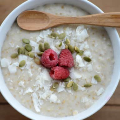 Prep this healthy and delicious slow cooker creamy coconut steel cut oat recipe for a healthy breakfast that tastes amazing!