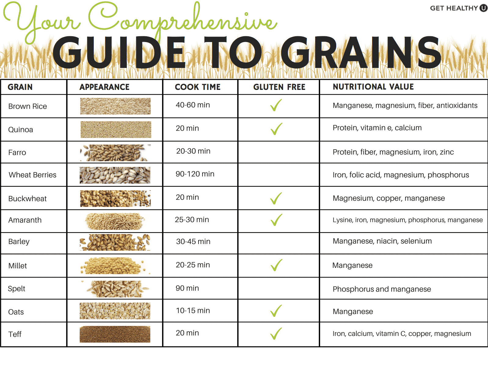 Ever wonder which grains are best for you or which are gluten free? We've got your comprehensive guide to grains all laid out.