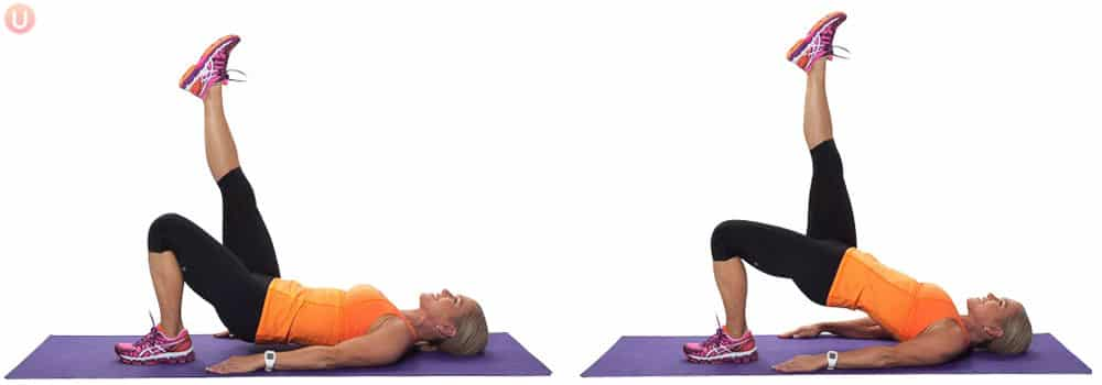 A single leg hamstring bridge for your glutes.