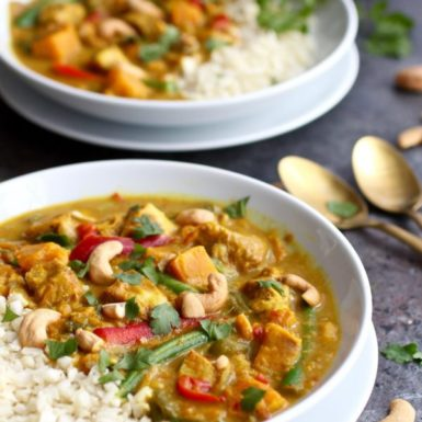 Whip up a rich and creamy dairy free sweet potato chicken curry in 30 minutes with this easy instant pot recipe.